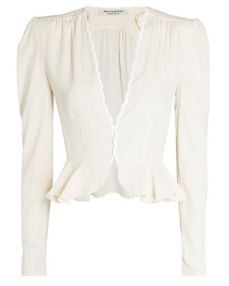 Scalloped Peplum Blouse, IVORY, hi-res