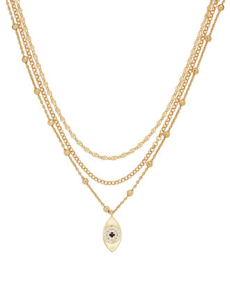 Layered Evil Eye Necklace, GOLD, hi-res
