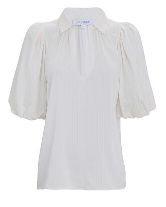 Petra Puff Sleeve Blouse, WHITE, hi-res