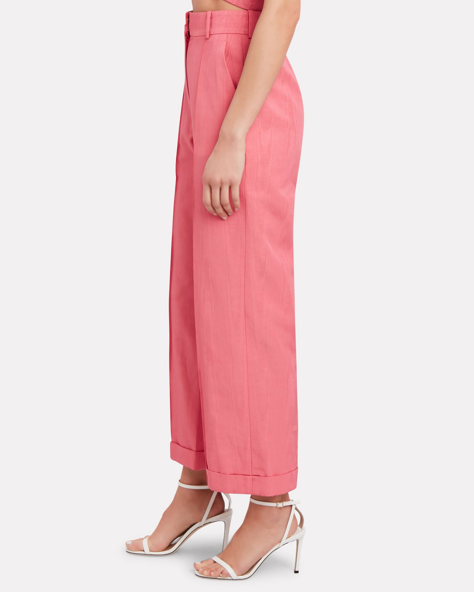 Charlie Moiré Straight-Leg Trousers, PINK, hi-res