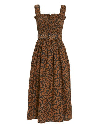 Smocked Leopard Sleeveless Dress, MULTI, hi-res