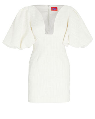 Delphi Puff Sleeve Tweed Dress, IVORY, hi-res