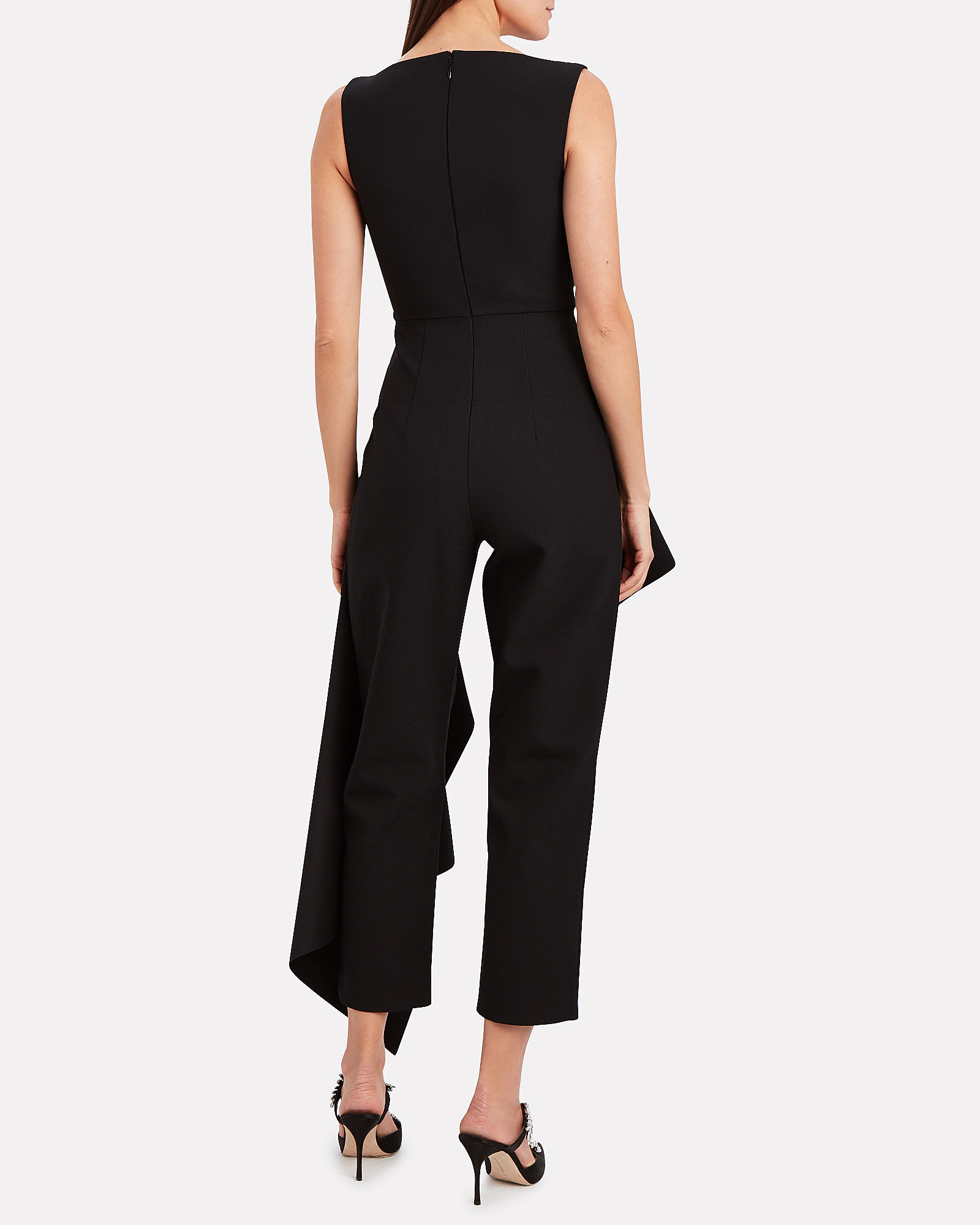 Rena Asymmetrical Crepe Jumpsuit, BLACK, hi-res