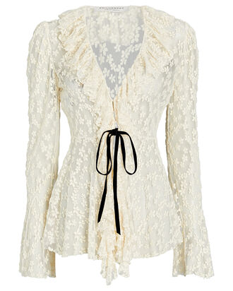 Ruffled Floral Tie-Waist Blouse, , hi-res