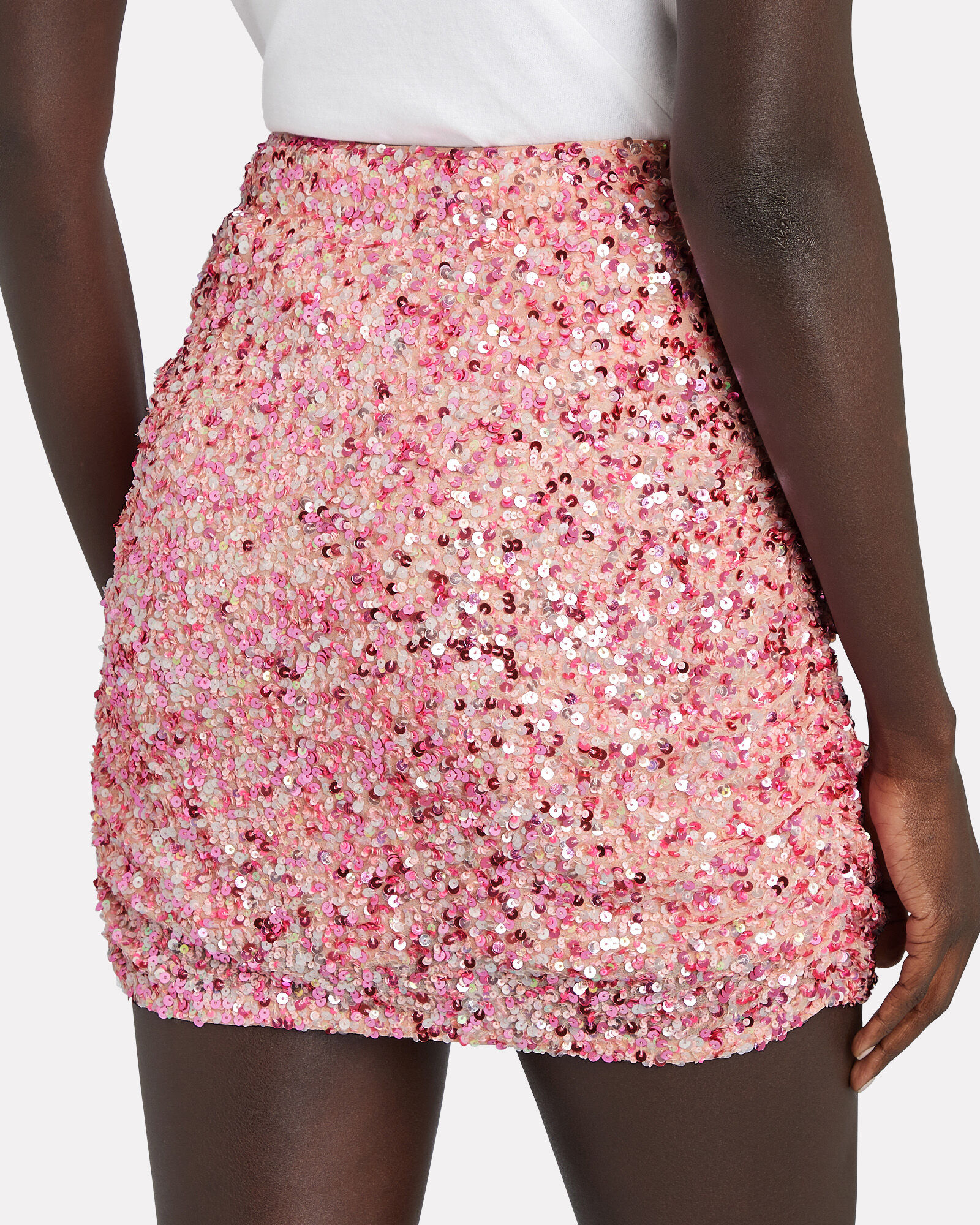 Celestia Ruched Sequin Skirt, PINK, hi-res
