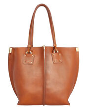 Medium Vick Leather Tote, BROWN, hi-res
