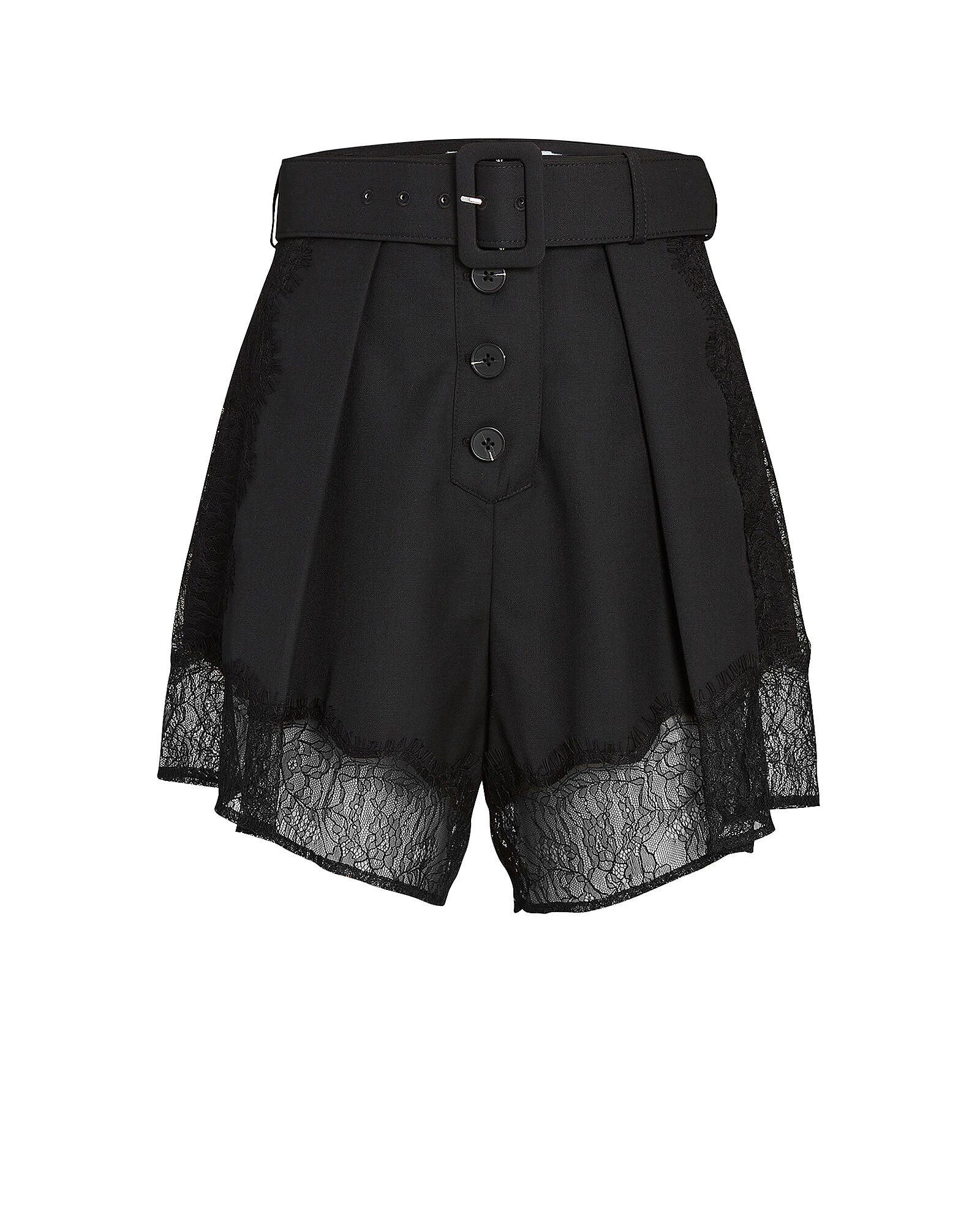 Lace-Trimmed High-Rise Shorts, BLACK, hi-res