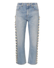Ines White Lace-Up Jeans, DENIM, hi-res