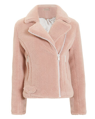 Mini Pocket Rider Sherpa Moto Jacket, BLUSH, hi-res