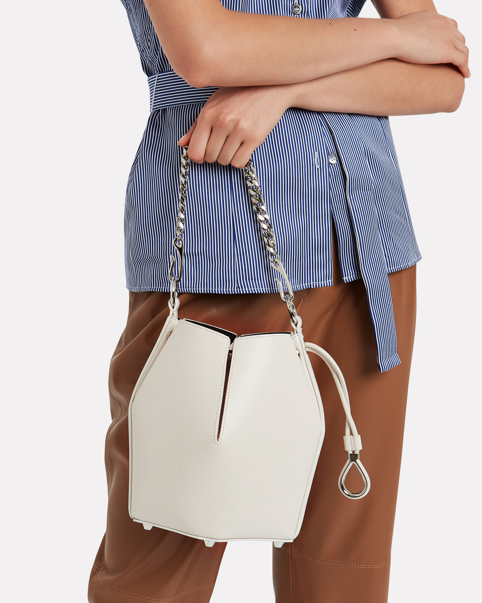 Small Leather Bucket Bag, WHITE, hi-res