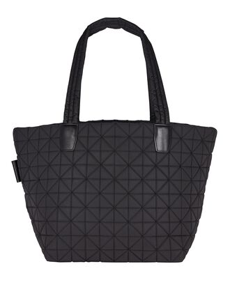 Vee Medium Quilted Tote Bag, BLACK, hi-res