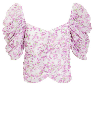 Floral Silk Ruched Blouse, IVORY/LILAC, hi-res