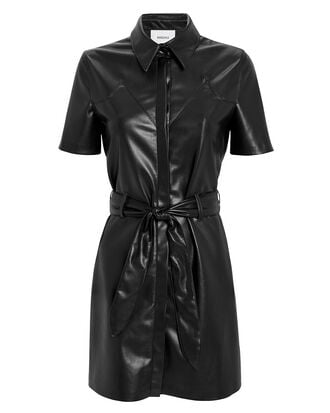 Roberta Vegan Leather Mini Dress, BLACK, hi-res