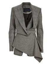 Asymmetric Draped Plaid Blazer, GREY, hi-res