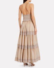 Cindy Lace-Trimmed Tiered Dress, BEIGE, hi-res