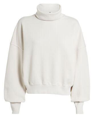 Balloon Sleeve Turtleneck Sweatshirt, WHITE, hi-res