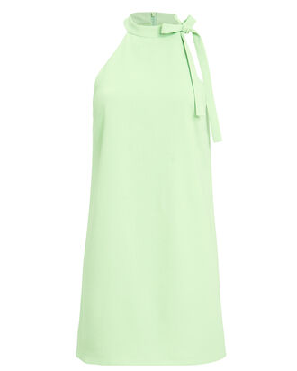 Tie Neck Shift Dress, GREEN, hi-res