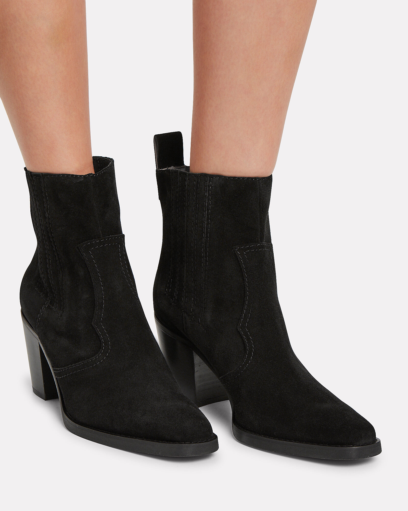 Western Suede Booties, BLACK, hi-res