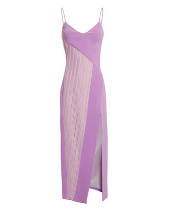 Macrame Panel Asymmetric Midi Dress, PURPLE, hi-res