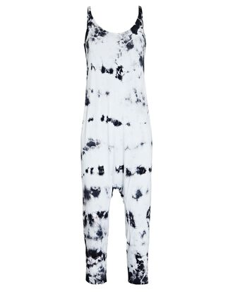 Strappy Slouch Tie-Dye Jersey Jumpsuit, BLACK/WHITE, hi-res