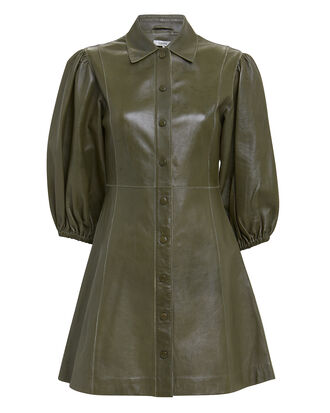 Balloon Sleeve Leather Mini Dress, OLIVE/ARMY, hi-res