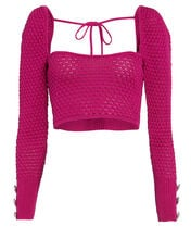 Crystal-Embellished Puff Sleeve Sweater, PINK, hi-res