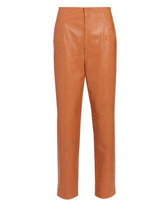 Gerri High-Rise Leather Pants, BROWN, hi-res