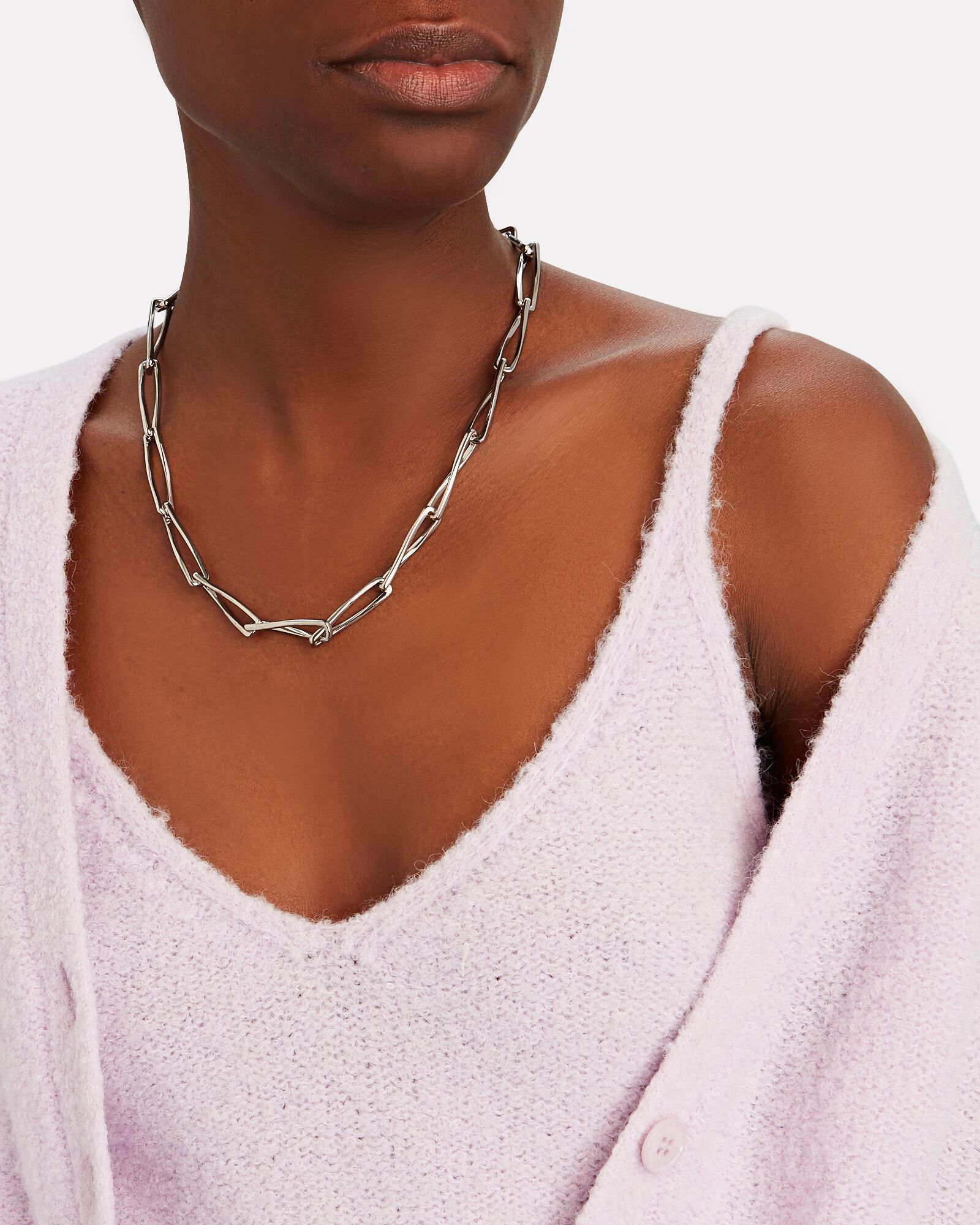 Pirouette Chain-Link Necklace, SILVER, hi-res