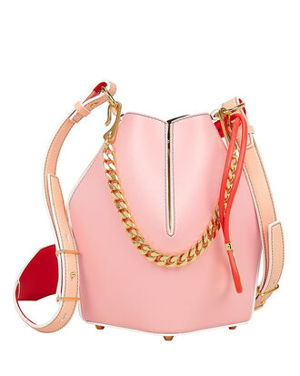 Pink Leather Small Bucket Bag, PINK/WHITE/RED, hi-res