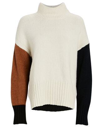 Colorblock Turtleneck Sweater, OFF WHITE MULTI, hi-res