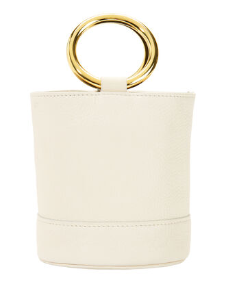 Bonsai White Leather Mini Bucket Bag, WHITE, hi-res