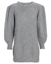 Sisilia Metallic Mini Sweater Dress, SILVER, hi-res