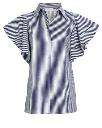 Peplum Sleeve Striped Button Down Top, NAVY/STRIPE, hi-res