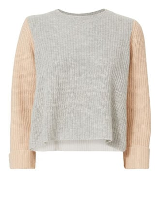 Cuffed Colorblock Shaker Sweater, COLORBLOCK, hi-res