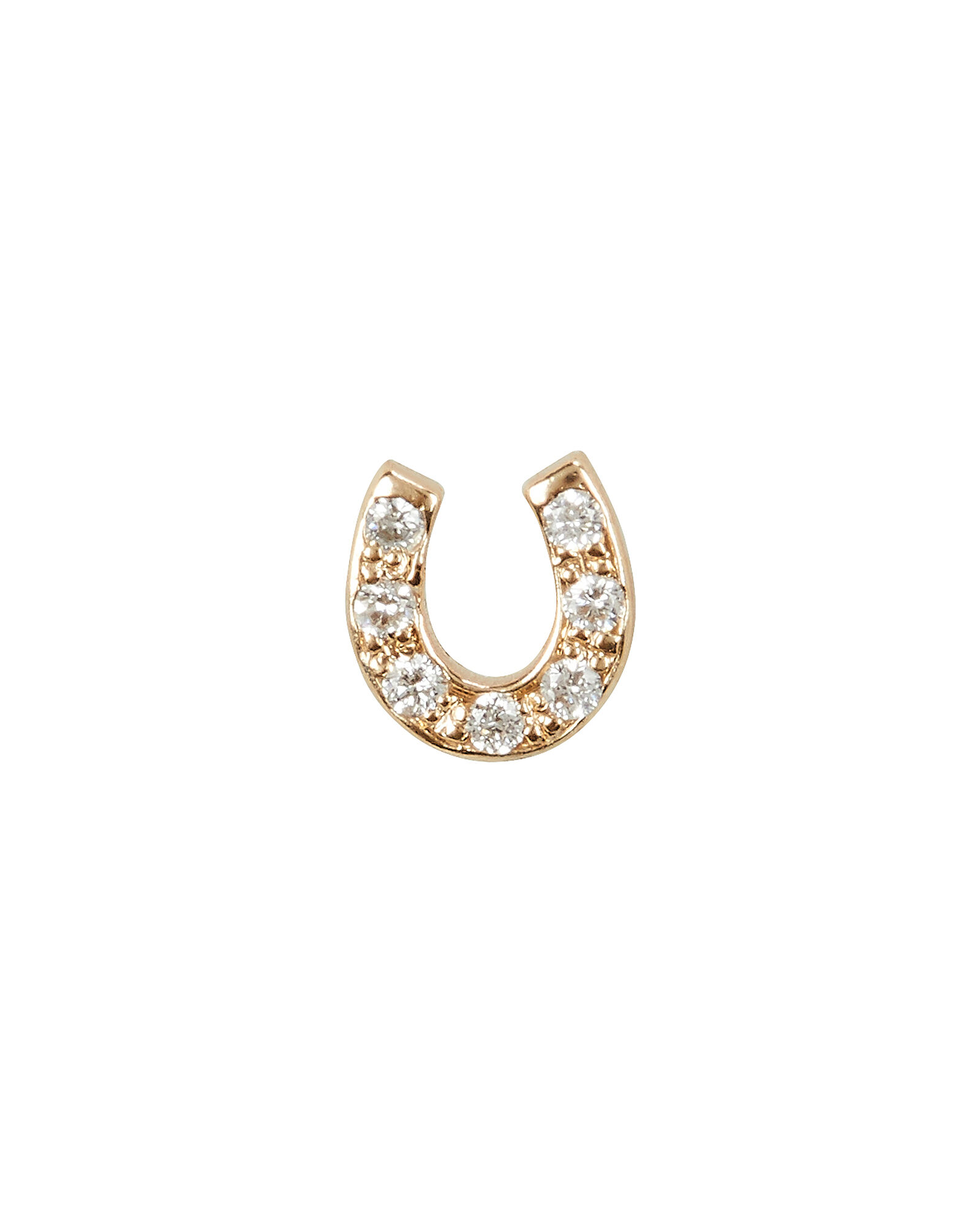 Itty Bitty Horseshoe Single Stud, GOLD, hi-res