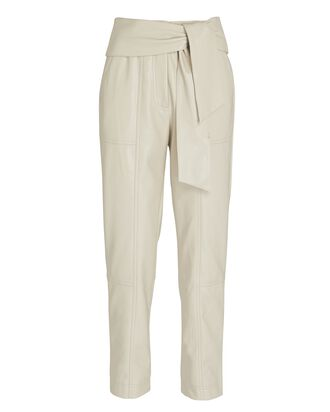 Tessa Tie-Waist Vegan Leather Pants, LIGHT GREY, hi-res