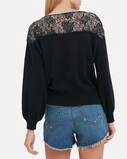 Lace Detail Top, NAVY, hi-res