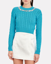 Crystal-Embellished Cropped Cable Sweater, CERULEAN, hi-res