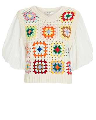 Gabriela Crochet Puff Sleeve Top, IVORY, hi-res