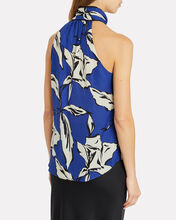 Sela Floral Tie Neck Top, BLUE-MED, hi-res
