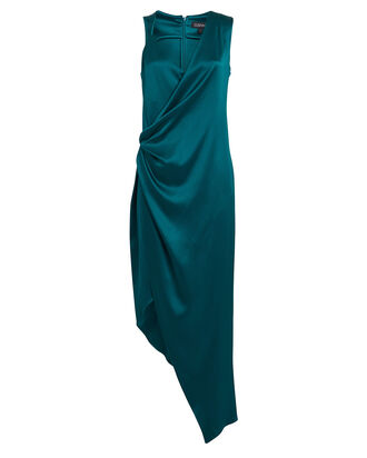 Charmeuse Asymmetrical Wrap Dress, TEAL, hi-res