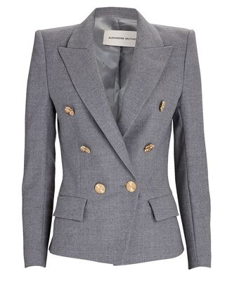 Flannel Double-Breasted Blazer, GREY, hi-res