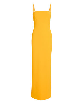 Riley Sleeveless Crepe Gown, YELLOW, hi-res