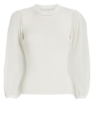 Veronica Puff Sleeve Cotton Sweater, IVORY, hi-res