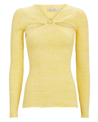 Laila Rib Knit Cut-Out Top, YELLOW, hi-res