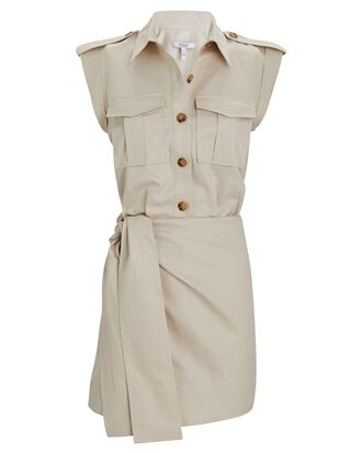 Linen-Cotton Twill Mini Cargo Dress, BEIGE, hi-res