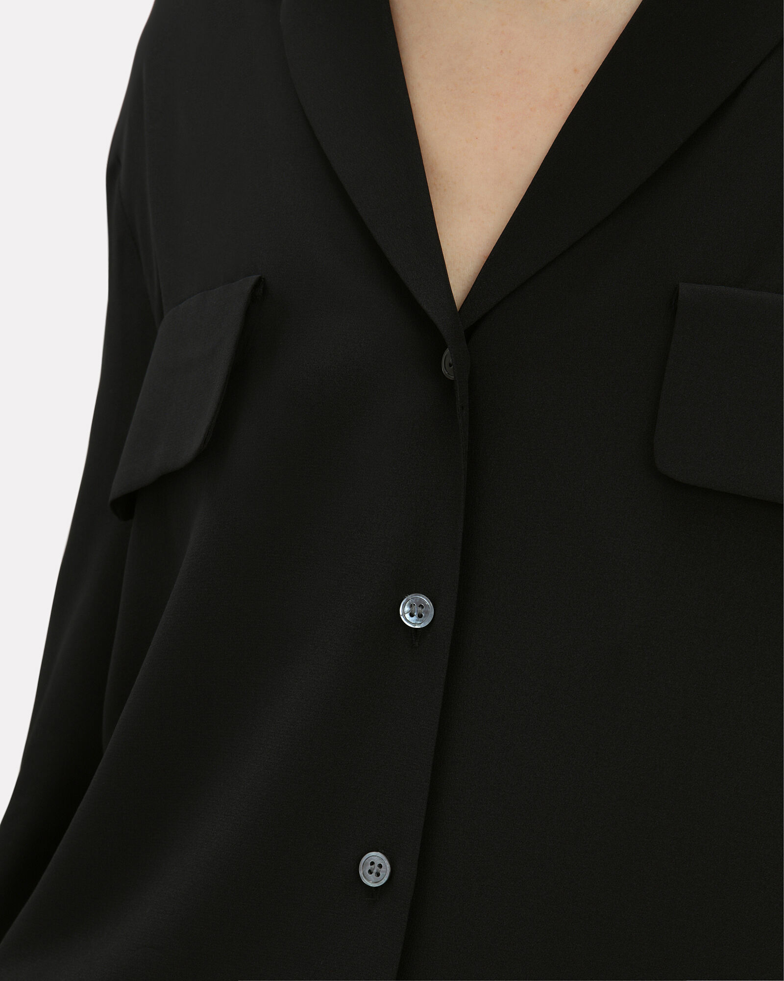 Silk Button-Down Shirt, BLACK, hi-res