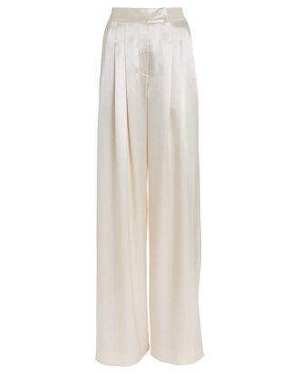 Noel Pleated Satin Pants, IVORY, hi-res