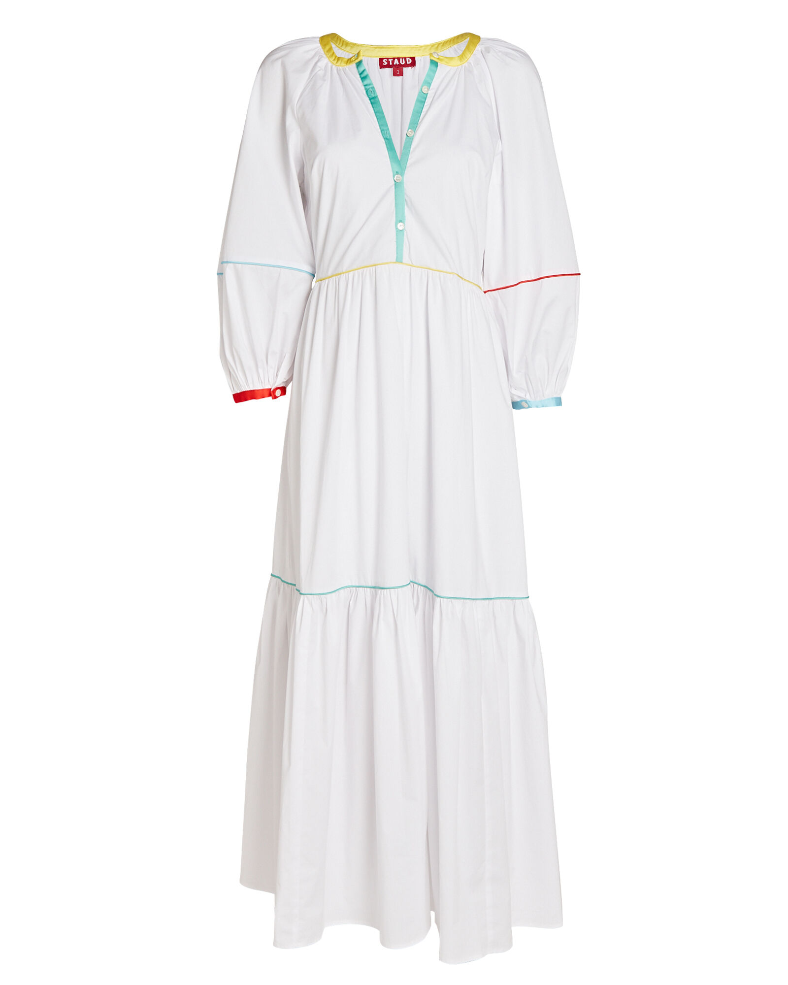 Demi Tiered Poplin Midi Dress, WHITE, hi-res