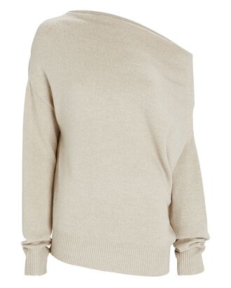 One-Shoulder Merino Wool Sweater, BEIGE, hi-res
